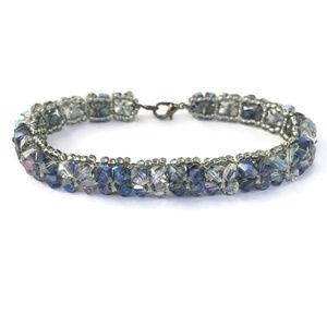 Jewelry - Handmade Subtle Blue Bead Woven Crystal Bracelet